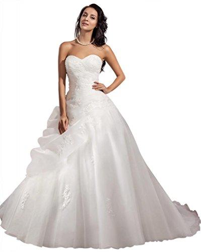 GEORGE BRIDE ELegant Strapless Ball Gown Satin Wedding Dress Size 12 Ivory