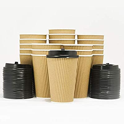 Triple Walled Disposable Coffee Cups with Lids [12OZ/16OZ]- No Sleeves Required - Ripple Insulated Kraft Paper Cups for Hot Beverage To Go, No Leak! Eco-Friendly Recyclable Durable Paper