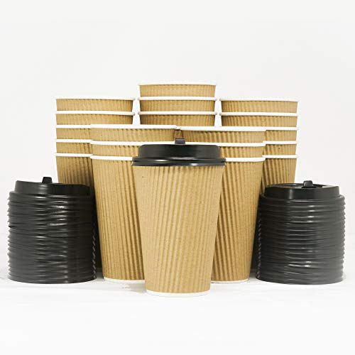 Corrugated Cup (16-OZ Triple Walled Disposable Coffee Cups with Lids 65 Set - No Sleeves Required - Ripple Insulated Kraft Paper Cups for Hot Beverage To Go, No Leak! Eco-Friendly Recyclable Durable Paper)