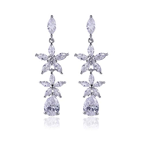 (Women's Cubic Zirconia Statement Earrings - Long Crystal Rhinestone CZ Floral Cluster Linear Drop Earrings for Wedding Flower Bridal Teardrop Dangle Earrings for Bride Bridesmaids Pageant Party)