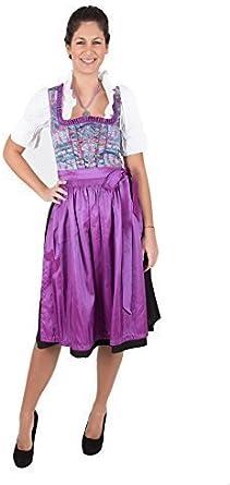 Exclusivo tirolesa turquesa y negro con delantal en púrpura 2 ...