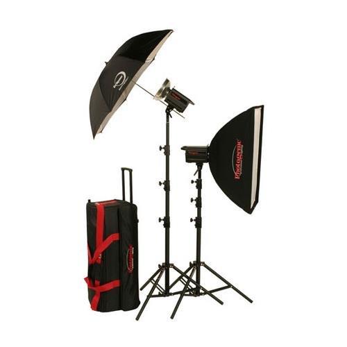 Eclipse Umbrella - Photogenic PL2615K 1000W/s Solair Digital Travel Kit, 2x500W/s Monolights, 24x32 Soft Box, Eclipse 45