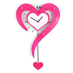 Ysayc Wall Clock Modern Decoration Swing Mute Wall Clock Personality Fashion Creative Living Room Heart-shaped Hanging Table Garden Bedroom Wedding Wall Clock, other, rose red