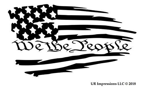 (UR Impressions Blk Tattered American Flag - We The People Decal Vinyl Sticker Graphics Car Truck SUV Van Wall Window Laptop|Black|7.5 X 4.2 Inch|URI609)