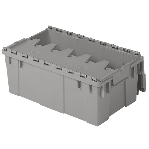 Buckhorn AR2012070201000 Attached Lid Flip Top Storage and Distribution Plastic Tote, 20-Inch x 12-Inch x 7-Inch, Grey ()