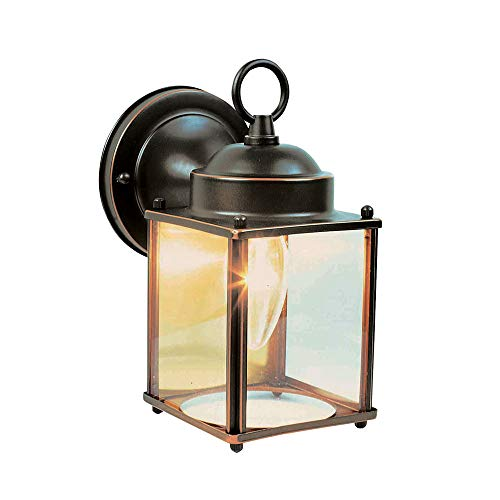 Rubbed Bronze Outdoor Sconce - Design House 506576 Coach 1 Light Indoor/Outdoor Wall Light, Oil Rubbed Bronze