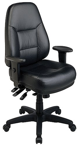Office Star Work Smart Professional Multi Function Ergonomic High Back  Leather Chair With Adjustable Padded Arms