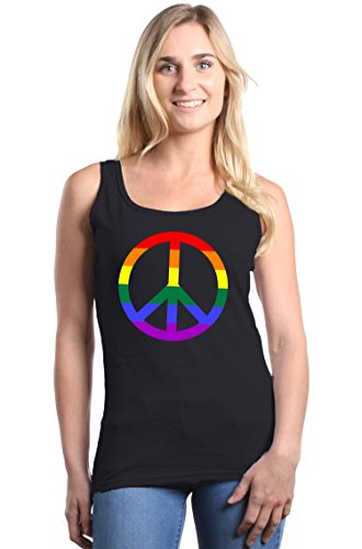 Shop4Ever Rainbow Peace Sign Women's Tank Top Gay Pride Tank Tops XX-LargeBlack (Peace Sign Womens Tank Top)