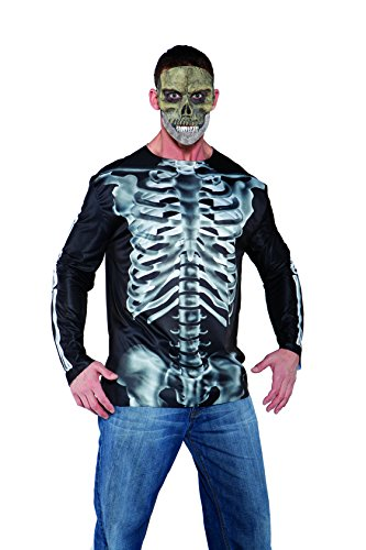 Underwraps Costumes Men's X-Ray Costume - Photo Real Shirt, Black/White, One Size (Daddy And Me Halloween Costumes)