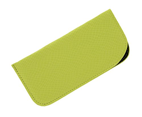 Soft Slip In Eyeglass Case For Women And Men - Faux Snake Skin Print, Lime - Green Lime Eyeglasses