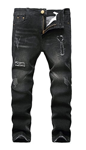 Boy's Black Skinny Fit Ripped Destroyed Distressed Stretch Patched Slim Jeans, Black, 10 slim ()