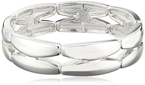 """Napier """"Napier Classics"""" Silver-Tone Sectional Stretch Bracelet, 8"""""""