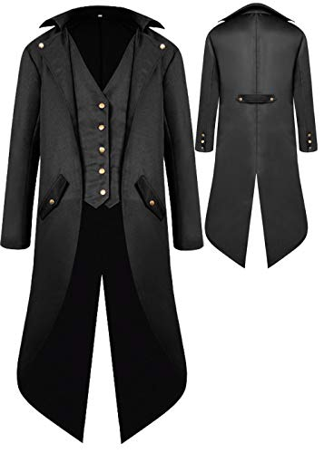 Mens Gothic Medieval Tailcoat Jacket, Steampunk Vintage Victorian Frock High Collar Coat, Halloween Costumes (L, Black) -