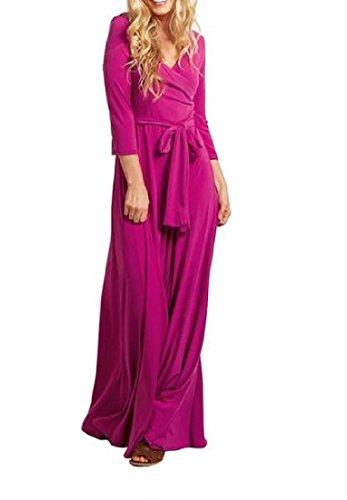 La Longueur Confortable Plancher Des Femmes Acceptent Robe Maxi Solide Taille Manches 3/4 Rose Rouge
