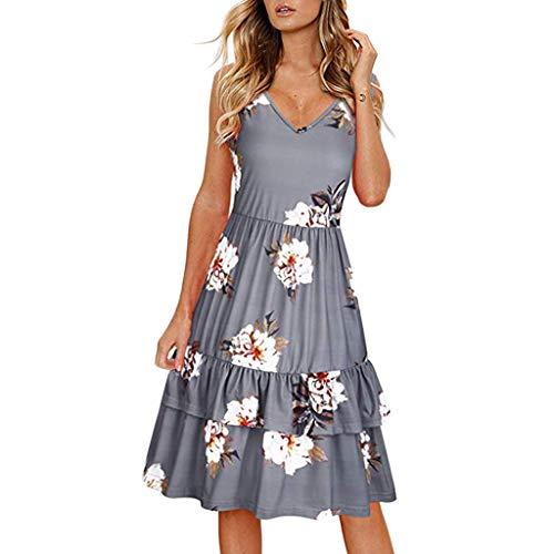 - Sunhusing Ladies Casual Holiday Beach Style Flower Print V-Neck Sleeveless Layered Pleated Hem Dress Gray