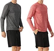 TEXFIT PRO Series 2-Pack Athletic Long Sleeve Shirts for Men, Stretch Quick Dry Fabric
