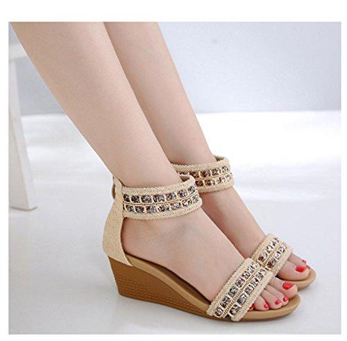 2018 comode moda dimensioni sandali Beige con Nuovo stile Slope grandi romane femminile Si XIAOQI di romano Ketu elegante Bohemian scarpe ZZqr6v