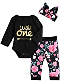Baby Girls First Birthday Outfit Set Wild One Pant Clothing Set with Headband (12-18 Months, Black Long)