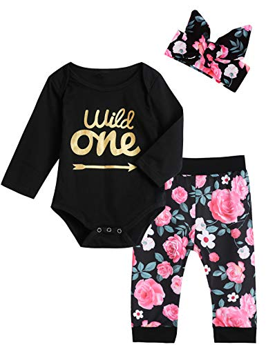 Baby Girls Floral Outfit Set Wild One Pant Clothing Set with Headband(6-12 Months, Black Long)
