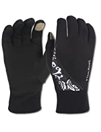 TrailHeads Twister Running Glove with touch screen feature - black & white (medium)