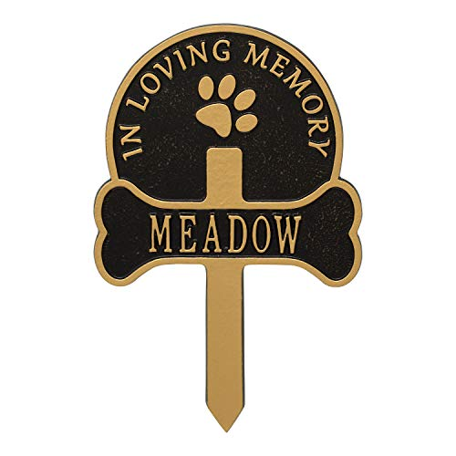 Whitehall Paw and Bone Personalized Pet Memorial Yard Sign - Remembrance Grave Marker and Garden Stake - Black/Gold