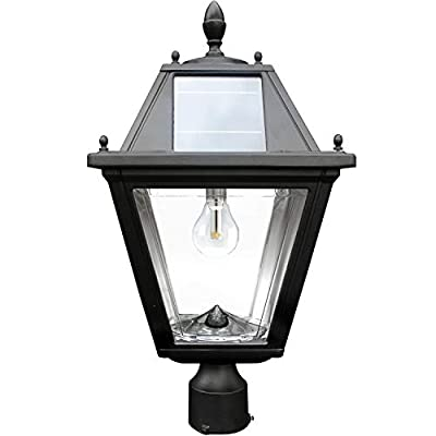 "Gama Sonic GS-300F Regal Lamp Outdoor Solar Light Fixture, 3"" Post Fitter Mount, Black"