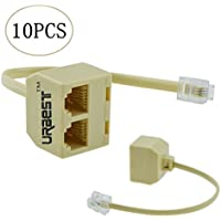 URBEST 10Pcs RJ11 6P4C 4 Pin Male to Female Dual Way Outlet Telephone Cable Splitter Adapter Phone Line Connector Converter