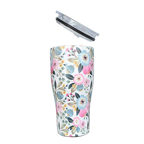 G-LEAF 20oz Floral Stainless Steel Tumbler & Double Wall Stainless Steel Vacuum Insulated Tumbler for Hot and Cold Beverages - Peach Bloom Flower
