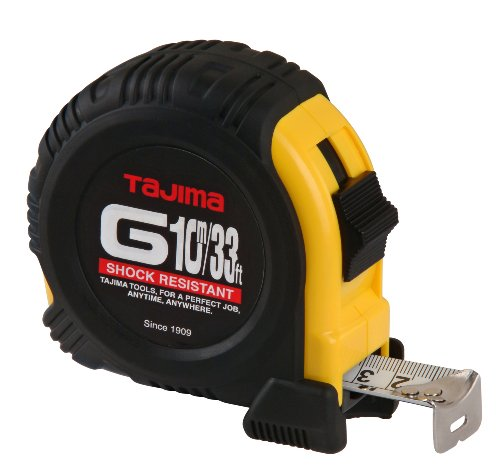 TAJIMA Tape Measure - 33 ft / 10 m x 1 inch G-Series Measuring Tape with Dual Metric/Standard Scale & Acrylic Coated Blade - G-33/10MBW