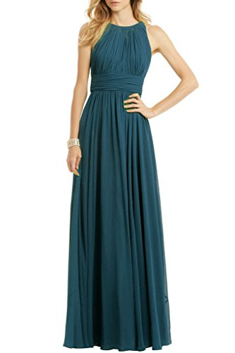 Women Halter Neck Sleeveless Chiffon Formal Long Evening Maxi Dresses Teal US12