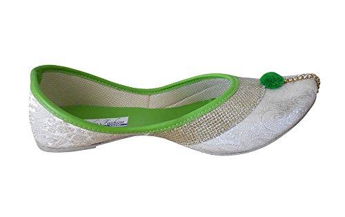 kalra Creations Femme Étui traditionnel avec séquence de travail indien pour chaussures Argent kiR76UJ4