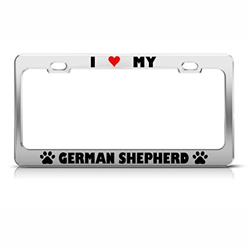 (German Shepherd Paw Love Heart Dog License Plate Frame Stainless )