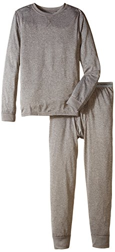 (Fruit of the Loom Boys' Big' Active Performance Thermal Underwear Set, Medium Gray Heather, 14/16)