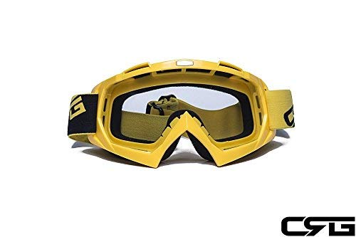 CRG Sports Motocross ATV Dirt Bike Off Road Racing Goggles (Transparent lens yellow frame)