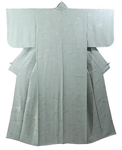 服を片付ける増強ポスターリサイクル 着物  付下色無地 辻が花模様 一つ紋 正絹 袷 裄60cm 身丈153cm