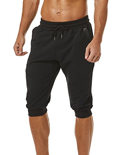 Ouber Men's 3/4 Capri Pants Three-Quarter Jogger Running (Black,M)