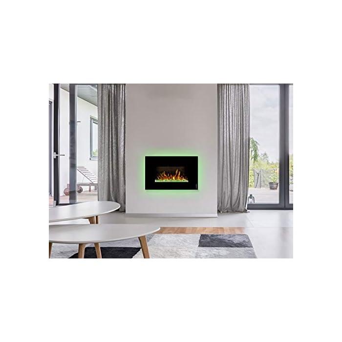 41 4sTR3Z6L ¿Sin chimenea? No hay problema de ambiente acogedor y agradable calor para cualquier habitación. Consumo de energía de solo 20 W en modo llama gracias a la tecnología LED de bajo consumo. 0,9 kW o 1,7 kW de potencia de calefacción mediante un ventilador de convección conmutable.