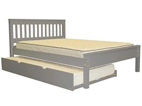 Bedz King Mission Style Full Bed with a Twin Trundle, Gray