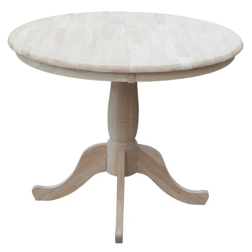 ts 36-Inch Round Extension Dining Table with 12-Inch Leaf, Unfinished ()