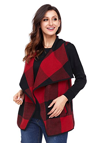 frente tamaño abierto abrigo Rojo abierto más Plaid Chaleco de de Chic solapa BaronHong aFaOEx