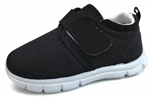 - Little Star Shoes Toddler Sneakers Slip On Comfort Shoes - No Tie - Athletic, JR-505F, Black, 4