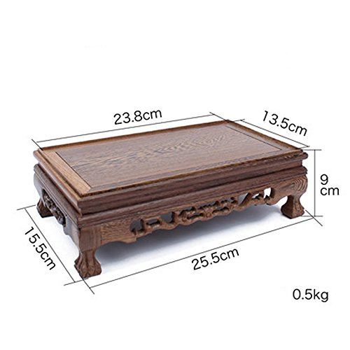 Carved Pedestal Base (J-beauty Rectangular Display Stand Rosewood Carved Pedestal Censer Stand Vase Base Decoration Tea Pot Stand (10 inch L))