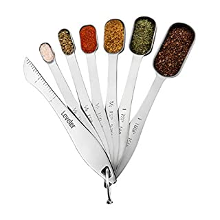 Spring Chef Heavy Duty Stainless Steel Metal Measuring Spoons for Dry or Liquid, Fits in Spice Jar, Set of 6 with bonus Leveler
