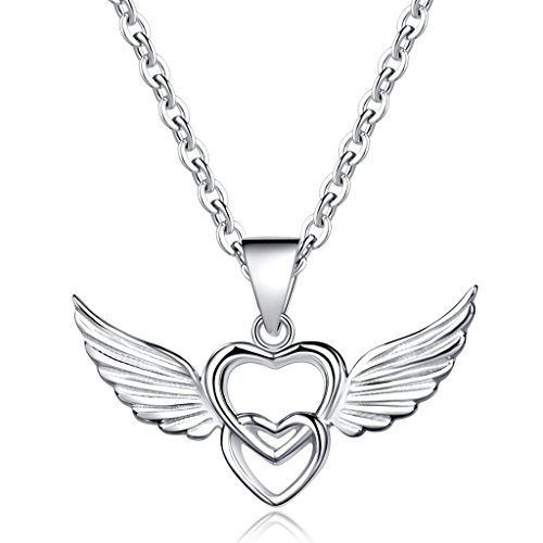 Infinite U 925 Sterling Silver Double Hearts Angel Wings Pendant Necklace,Rose Gold/Silver (Silver) (Cute Indian Costumes For Girls)