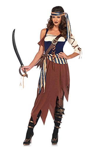 Leg Avenue Women's Caribbean Castaway Pirate Costume, Multi, Medium -