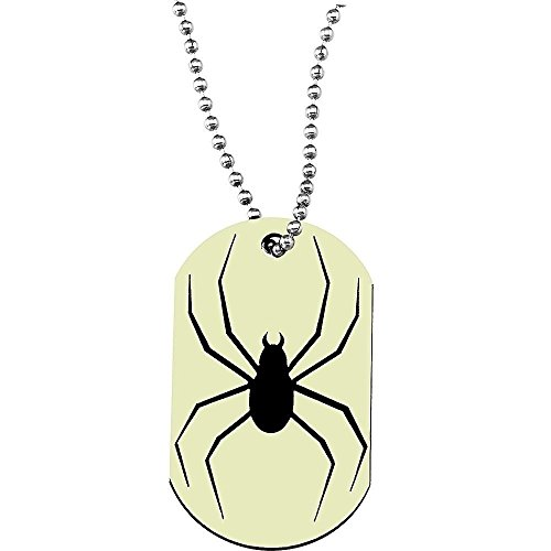 Glow in the Dark Spider Dog Tag Necklace by yuni