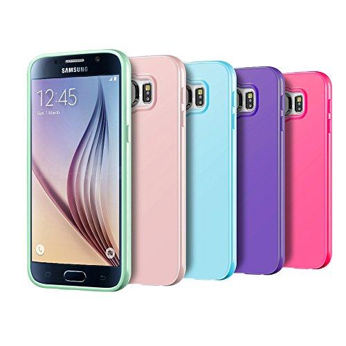 Galaxy S6 Case, 5 Pcs Ace Teah™ Premium Slim Fit Shock Proof Flexible TPU Protective cover [ Non - Slip ] Bumper Case for Samsung Galaxy S6 - Pink, Plum, Sky Blue, Green, Deep Purple