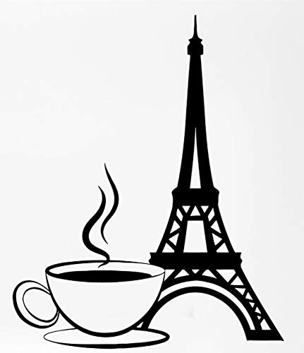 Paris France Eiffel Tower Cup Of Coffee. Transfer tattoos tattooing temporary tattoos Cute Face stickers (Cup Eiffel Coffee)