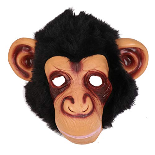 Amosfun Chimp Mask Novelty Halloween Costume Party Animal Head Mask Monkey Headgear Orangutan Mask Scary Party Mask Funny Halloween Masquerade Mask Black