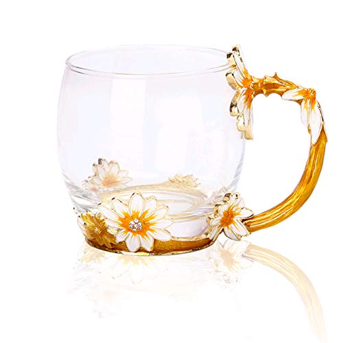 - GAMT Tea Cup Coffee Mug Cups Clear Glass Unique Flower Enamel Design Glass for Christmas Birthday Wedding Gift yellow short